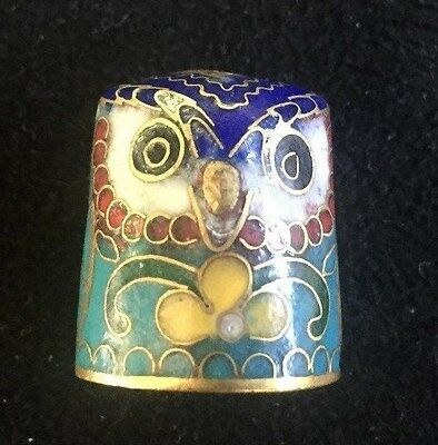 Vintage enamel cloisonne Owl Head Thimble collectable brass sewing
