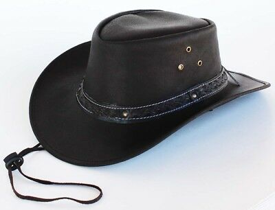 Horse Western Cowboy Indiana Jones Crushable Oiled Leather Hat 24H07BR