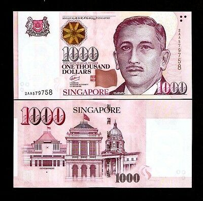 SINGAPORE 1000 1,000 Dollars P43 1999-2015 *AA* Prefix 1 Triangle UNC MONEY NOTE