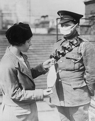 British soldier demonstrates a respirator for a civilian World War I 8x10 Photo