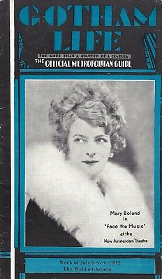 """Mary Boland """"FACE THE MUSIC"""" Irving Berlin 1932 New York's """"Gotham Life"""" Guide"""