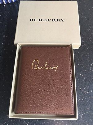 New Boxed Tan Leather Bound Burberry Pocket Book NotePad Genuine and Rare!!