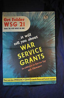 1943 WW2 UK 'War Service Grants' Home Front Poster Signed Jones