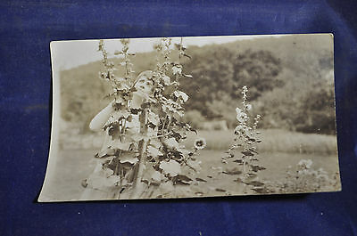 1924 RPPC Mrs. Coolidge in Garden Postcard