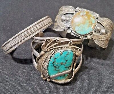 Lot of 3 OLD PAWN VINTAGE Navajo Native American Sterling & Turquoise Bracelets