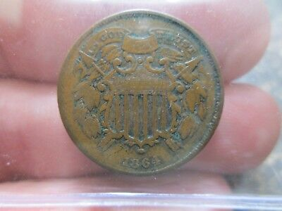 1864 SMALL MOTTO D 2 CENT COIN IN FINE Condition