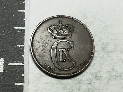 DENMARK 1906 2 Ore coin excellent condition