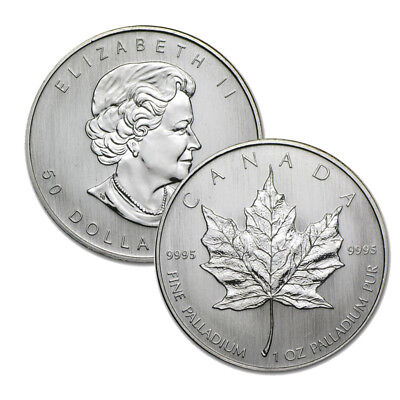 Lot of 2 - 1 oz Canadian Palladium Maple Leaf $50 Coins .9995 Fine Random Years