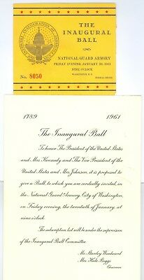 Vintage 1961 President John Kennedy Inaugural Ball Invitation & Ticket Stub