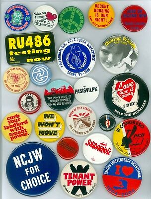24 Vintage 70s-80s Protest Peace Cause Pinback Buttons - Jobs Or Income Now