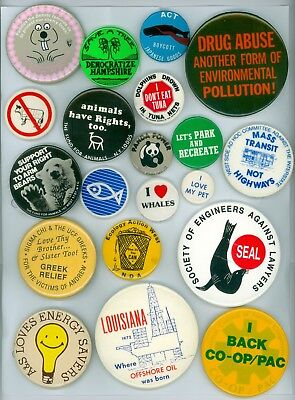20 Vintage 1970s-11 Ecology Earth Day Cause Pinback Buttons- Ecology Action West