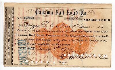100 shares Panama Railroad Company, 1872, 25 cent printed revenue stamp, $10,000