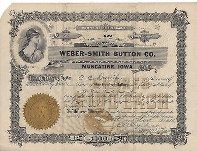 Stk-Weber-Smath Button Co 1916 Muscatine, IA Pearl buttons mussels in Miss. R.