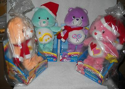 #9537 NRFB Play A Long Target Stores Set of 4 Singing Holiday Care Bears Plush