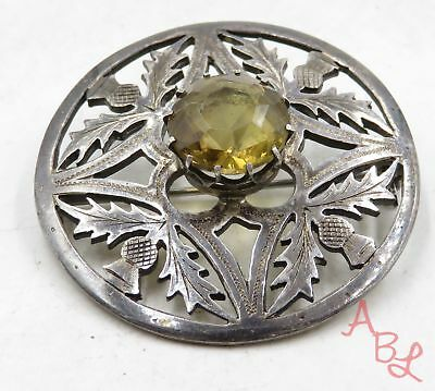 Sterling Silver Vintage 925 Filigree Leaf Pin Citrine Brooch (14.5g) - 574951