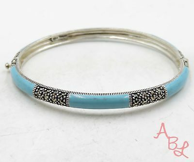 """Missing Marcasite"" Sterling Silver 925 Turquoise Bracelet 7.5"" (18.1g) - 575001"