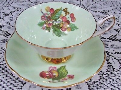 Elizabethan Berries Cherry Blossom Fruit Green Tea Cup And Saucer