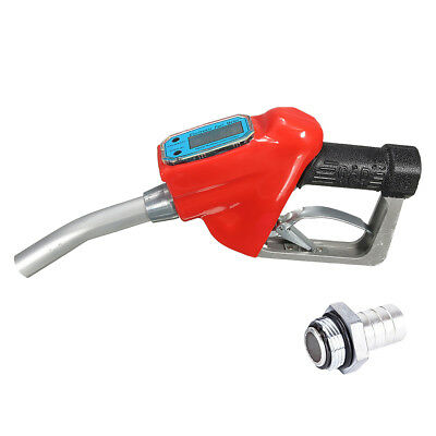 Fuel Gasoline Diesel Delivery Gun Nozzle Dispenser with Flow Meter 1'' NPT