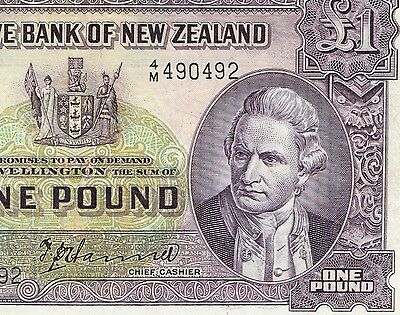 Reserve Bank New Zealand One Pound Signed T P Hanna 1940-1955 Ship Cook