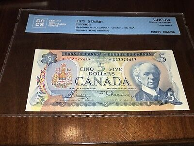 1972 $5 Canada Bank Note CCCS Certified UNC-64 Replacement $220 Book-Value