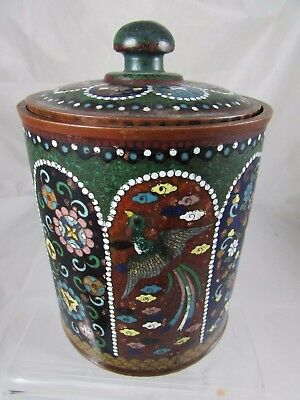 Vintage Cloisonne on Copper Tea Caddie Biscuit Jar  Asian Chinese Flowers Birds