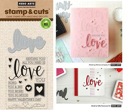 Hero Arts Stamp & Cut - Clear Stamps with Matching Dies, Sending Love Valentines