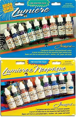 Jacquard Lumiere & Neopaque 18 Colour Set - Metallic & Pearlescent Fabric Paint