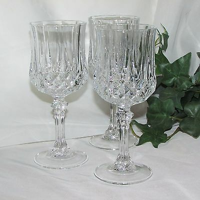 """Cristal D'arques Longchamps Goblets 7 1/4"""" Lead Crystal 3 Red Wine Glass France"""