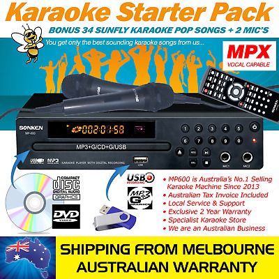 Sonken Mp-600 Karaoke Starter Pack - Music, Mics, Key Cont, Record, 12M Warranty