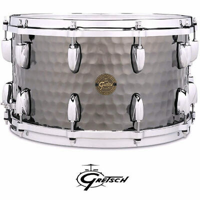 Gretsch Hammered Black Steel Shell 14 x 8 inch Snare Drum With Di-Cast Hoops