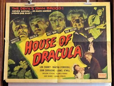 1950 HOUSE OF DRACULA 22x28 1/2-Sheet Poster Realart Rerelease WOLFMAN CARRADINE