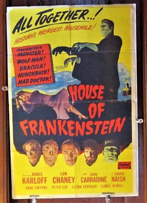 1950 HOUSE OF FRANKENSTEIN One-Sheet Poster Realart Rerelease WOLFMAN DRACULA