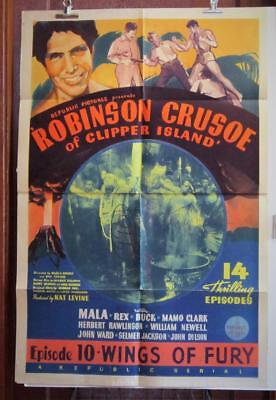 1936 ROBINSON CRUSOE OF CLIPPER ISLAND Chapter 10 One-Sheet Serial Movie Poster