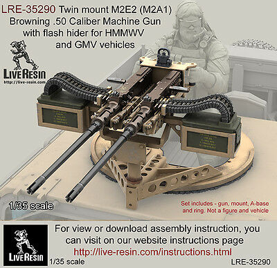 Live Resin 1/35 Twin Mount M2E2 (M2A1) Browning .50 Calibre MG for HMMWV & GMV