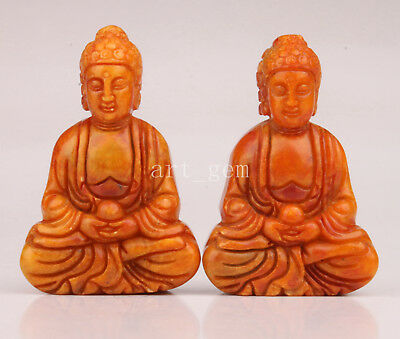 2 Yellow Jade Figurine Pendant Sitting Buddha Statue Belief Present Collection