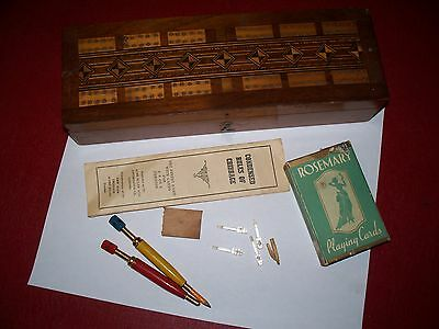 Vintage Art Deco Ww2 Cribbage Board With 2 Very Neat Pencils Cards Pegs Rules
