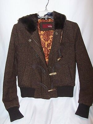 Womans Jacket by Vanity Size Small Toggle Buttons Adorable BROWN FAUX FUR