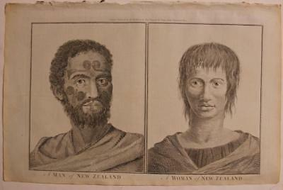 New Zealand Maori Couple 1784 Hogg/cook Unusual Antique Engraved Fashion Plate