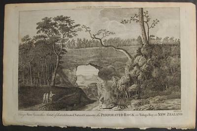 New Zealand Tolaga Bay 1784 Hogg & Cook Unusual Antique Copper Engraved View
