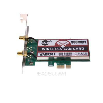 PCI-Express 300Mbps Wireless WiFi Card Adapter 2 Antennas for Desktop Lapto E0Xc