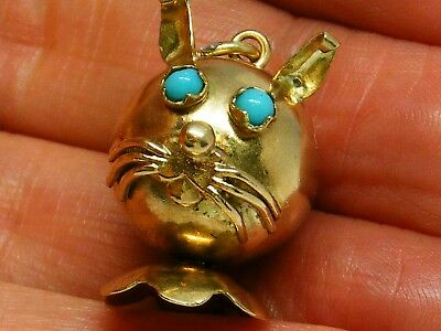 9ct Gold 9k Gold Vintage turquoise Cat Pendant / Charm