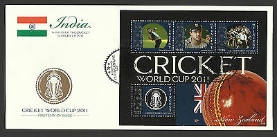 ST VINCENT 2011 ICC CRICKET WORLD CUP NEW ZEALAND DANIEL VETTORI 4v Sheet FDC