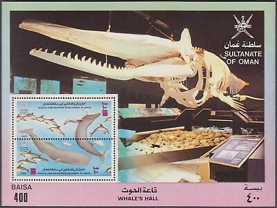 OMAN 1993 WHALES & DOLPHINS 400 b 2 VALUES MINT M.S (SG MS 412) RARE