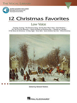 12 Christmas Favorites Low Voice Vocal Piano Sheet Music Book & Online Audio NEW