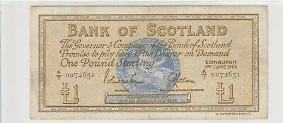 1966 £1 One Pound Bank Of Scotland Edinburgh Note Circulated 651