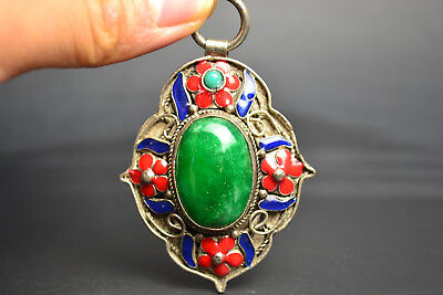Vintage China Style Decor Old Green JadeAnd Cloisonne Delicate Noble Pendant