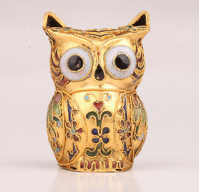 Cloisonne Statue Figurine Animal Owl Handmade Crafts Gift Collectable