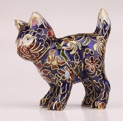 Cloisonne Statue Figurine Animals Lovely Cat Old Handmade Craft Gift Collection
