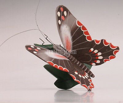 Wood Painting Realistic Butterfly Model Statue Handmade Carving Decoration Gift