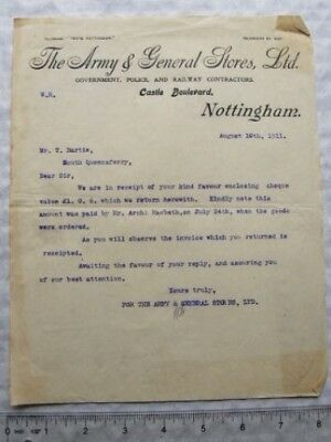 1911 letter Army & General Stores, Nottingham to  T. Bartie of South Queensferry